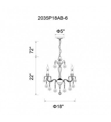 CWI - Brass 6 Light Up Chandelier with French Gold finish (2035P18GB-6)