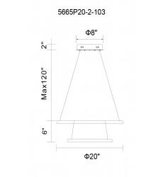 Alloha LED  Chandelier with White finish (5665P20-2-103) - CWI Lighting