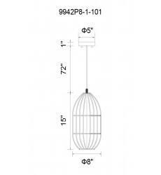 Alethia 1 Light Down Mini Pendant with Black finish (9942P8-1-101) - CWI Lighting