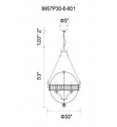 Arkansas 6 Light  Chandelier with Chrome finish (9957P30-6-601) - CWI Lighting