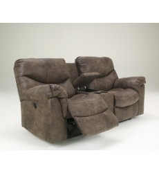 Ashley - Alzena 71400 DBL REC PWR Loveseat w/Console - Gunsmoke (7140096)
