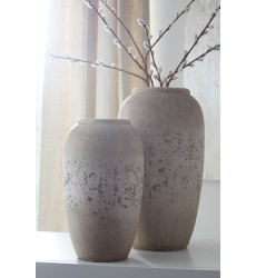 Ashley - Dimitra A2000110 Vase Set (2/CN) - Brown/Cream (A2000110)