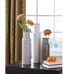 Ashley - Deus A2000132 Vase Set (3/CN) - Gray/White/Brown (A2000132)