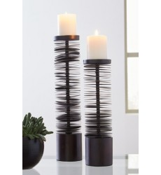 Ashley - Constance A2000199 Candle Holder Set (2/CN) - Brown (A2000199)