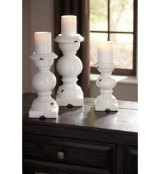 Ashley - Devorah A2000267 Candle Holder Set (3/CN) - Antique White (A2000267)