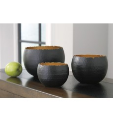 Ashley - Claudine Bowl Set (3/CN) - Black/Gold Finish ( A2000314 )