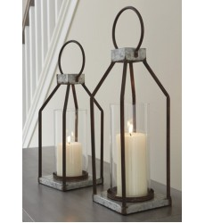 Ashley - Diedrick A2000346 Lantern Set (2/CN) - Gray/Black (A2000346)