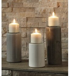 Ashley - Deus A2000352 Candle Holder Set (3/CN) - Gray/White/Brown (A2000352)