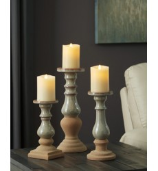 Ashley - Emele A2000354 Candle Holder Set (3/CN) - Taupe (A2000354)