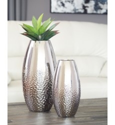 Ashley - Dinesh A2000355 Vase Set (2/CN) - Silver Finish (A2000355)