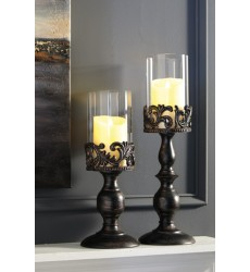 Ashley - Constance A2000359 Candle Holder Set (2/CN) - Antique Black (A2000359)