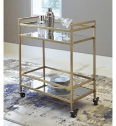 Ashley - Kailman A4000095 Bar Cart - Gold Finish (A4000095)
