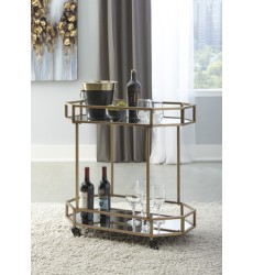 Ashley - Daymont A4000102 Bar Cart - Gold Finish (A4000102)