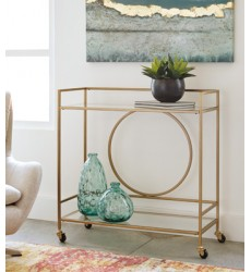 Ashley - Jackford A4000165 Bar Cart - Antique Gold Finish (A4000165)