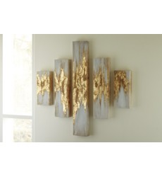 Ashley - Devlan A8000149 Wall Art Set (5/CN) - Gold Finish/White (A8000149)