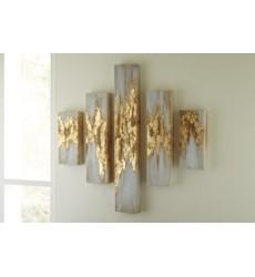 Ashley - Devlan A8000149 Wall Art Set (5/CN) - Gold Finish/White (A8000149)