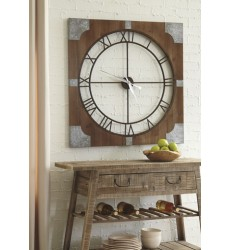 Ashley - Palila A8010072 Wall Clock - Brown/Silver Finish (A8010072)