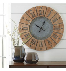 Ashley - Payson A8010076 Wall Clock - Antique Gray/Natural (A8010076)