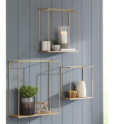 Ashley - Efharis A8010107 Wall Shelf Set (3/CN) - Natural/Gold Finish (A8010107)