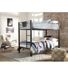 Ashley - Dinsmore B106 Twin/Twin Bunk Bed w/Ladder - Black/Gray (B106-59)