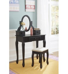 Ashley - Huey Vineyard B128 Vanity/Mirror/Stool (3/CN) - Black (B128-122)