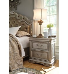 Ashley - Birlanny B720 Two Drawer Night Stand - Silver (B720-92)