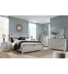 Ashley - Brashland B740 Queen/King/Cal King Panel Bed - White (Option with Bench Footboard)
