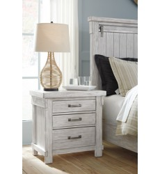 Ashley - Brashland B740 Three Drawer Night Stand - White (B740-93)