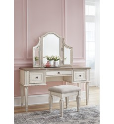 Ashley - Realyn B743 Vanity/Mirror/Stool (3/CN) - Chipped White (B743-22)