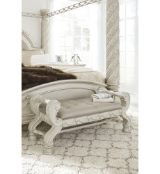 Ashley - Cassimore B750 Large UPH Bedroom Bench - Pearl Silver (B750-09)