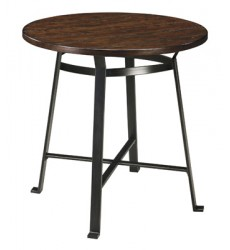 Ashley - Challiman Round Dining Room Bar Table - Rustic Brown ( D307-12 )