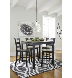 Ashley - Froshburg D338 Square Counter Table Set (5/CN) - Grayish Brown/Black (D338-223)