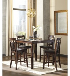 Ashley - Bennox D384 Dining Room Counter Table Set (5/CN) - Brown (D384-223)