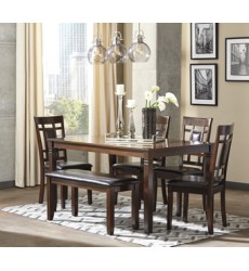 Ashley - Bennox D384 Dining Room Table Set (6/CN) - Brown (D384-325)