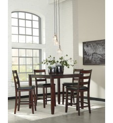 Ashley - Coviar D385 Dining Room Counter Table Set (5/CN) - Brown (D385-223)