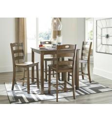 Ashley - Hazelteen D419 Square Counter Table Set (5/CN) - Medium Brown (D419-223)