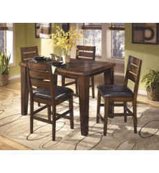 Ashley - Larchmont D442 Dining Room Counter Butterfly EXT Table - Burnished Dark Brown (D442-32)