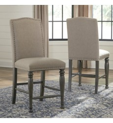 Ashley - Audberry D637 Upholstered Barstool (2/CN) - Dark Gray (D637-124)