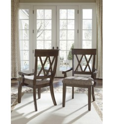Ashley - Brossling D727 Dining Room Arm Chair (2/CN) - Dark Brown (D727-01A)