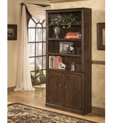 Ashley - Hamlyn H527 Large Door Bookcase - Medium Brown (H527-18)