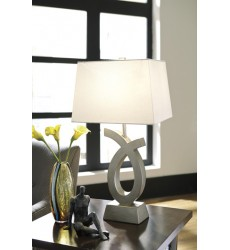 Ashley - Amayeta L243134 Poly Table Lamp (2/CN) - Silver Finish (L243134)