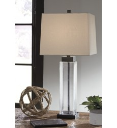 Ashley - Alvaro L431374 Glass Table Lamp (2/CN) - Clear/Bronze Finish (L431374)