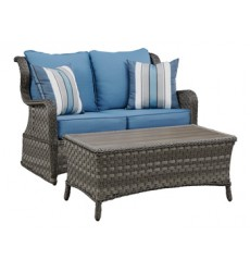 Ashley - Abbots Court P360 Loveseat Glider w/Table (2/CN) - Blue/Gray (P360-035)