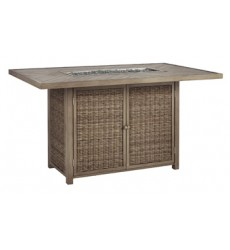 Ashley - Beachcroft P791 Rectangular Bar Table with Fire Pit - Beige (P791-665)