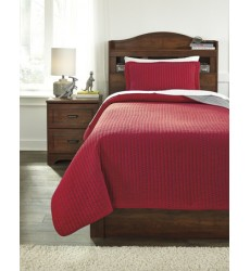 Ashley - Dansby Q22501 Twin Coverlet Set - Red/Gray (Q225011T)