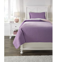 Ashley - Dansby Twin Coverlet Set - Lavender/Pink ( Q225021T )