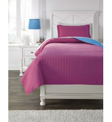 Ashley - Dansby Q22503 Twin Coverlet Set - Magenta/Aqua (Q225031T)