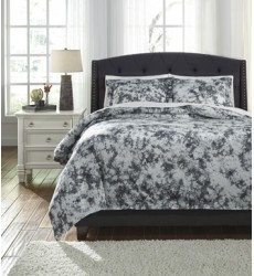Ashley - Darra Q24600 Queen Duvet Cover Set - Gray (Q246003Q)