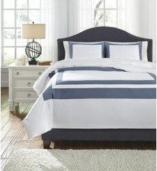 Ashley - Daruka Q24801 Queen Duvet Cover Set - Blue (Q248013Q)
