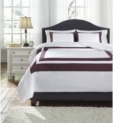 Ashley - Daruka Q24802 Queen Duvet Cover Set - Plum (Q248023Q)